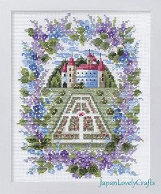 Japanese Cross Stitch Kit Modern, Romantic Blue Lilac Castle, Megumi Onoe, Embroidery DIY Kit Tutorial, Hand Embroidery Floral Design, JapanLovelyCrafts
