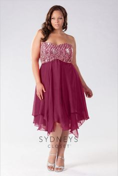 Strapless Chiffon Plus Size Party Dress From Sydney's Closet - PLUS Model Mag @gtl_clothing