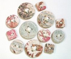 12 Shabby Chic Paper Buttons Punched Embossed by CatchSomeRaes