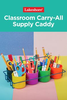 """A best seller and a """"5-Star Favorite,"""" our colorful Classroom Carry-All Supply Caddy is durable and a cinch to clean, and it easily organizes all kinds of art supplies. 🌟🎨 No wonder teachers love it! 🙌❤️ Back To School Sales, The New School, New School Year, Back To School Essentials, Glue Sticks, Art Supplies, Carry On, Classroom, Colorful"""