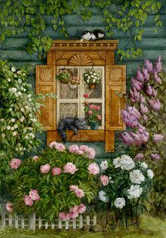 Просмотреть иллюстрациюГалина Егоренкова - Кошки на окошке).