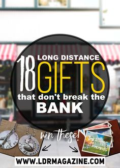 18 LDR gifts for long distance & milso couples.  Plus a giveaway! Click for more info :D