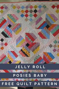 Welcome your newest grandbaby this spring with this beautiful free baby quilt pattern! This pattern for how to make a baby quilt uses a combination of flower blocks and patchwork, and has a printable quilt pattern. Jellyroll Quilts, Scrappy Quilts, Mini Quilts, Free Baby Quilt Patterns, Jelly Roll Quilt Patterns, Strip Quilts, Quilt Blocks, Quilt Kits, Quilting Tutorials