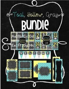 "{Teal, Yellow, Gray} BUNDLEIncludes: Alphabet Posters (2 per page)Number Posters 0-30 (2 per page)Editable Pennant Banners (1 per page)Editable LabelsSizes include:4"" x 6""2"" x 2 3/4""3"" x 3""9 1/2"" x 3"" (Desk Nameplates)Full PageEach of these items are also sold separately in my TpT Store: https://www.teacherspayteachers.com/My-Products/Search:%7Bteal%2C%20yellow%2C%20gray%7DThank you!Please remember to leave feedback and earn TpT Credits!"