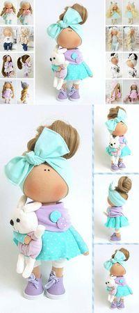 Textile Doll Tilda Doll Handmade Doll Muñecas Blue Doll