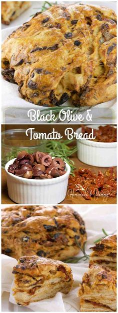 Black Olive & Tomato Bread is full of savoury flavour packed with pieces of olives and sun-dried tomatoes. | homemadeandyummy.com Savory Bread Recipe, Bread Recipes, Pizza Recipes, Casserole Recipes, Fresh Bread, Sweet Bread, Tomato Bread, How To Make Bread, Bread Making