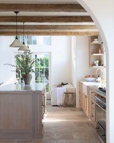 @enchantedberkeley Home Renovation, Modern Farmhouse, Beams, Kitchen Remodel, Oversized Mirror, Sweet Home, Porcelain, Stone, Table