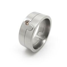 www.ORRO.co.uk - Patrick Malotki - Steel & Cognac Diamond Interlocking Gemini Ring - ORRO Contemporary Jewellery Glasgow...
