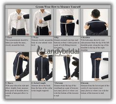 Measurements for the Grooms men and Groom, Father & Father of the Bride
