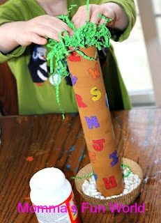 Fun craft to go along with the Chicka Chicka Boom Boom book. Learning letters.