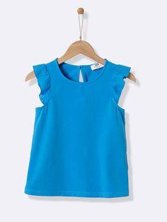 T-shirt manches volantées fille - bleu azur, Fille - Vetement et déco  Cyrillus ff8d82b113cf