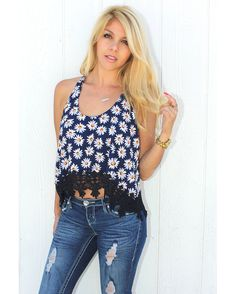 Fringed & flowy little Daisy top by Demi Loon. Adorable Daisy Cotton fabric with venice lace trim in Navy along the bottom for a dreamy boho vibe. (if you are in between sizes order size up).