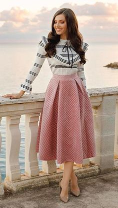 Own the velvet trend this season with this quilted skirt version in a festive candy pink. Fancy Sheen Quilted Velvet Skirt feature by Larisacostea Blog