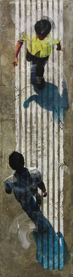 """Artaud Liard, """"Coup de peau"""", Acrylique, résine et ciment sur toile 132 x 35 cm"""