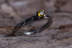 Yellow Topaz Ring-Sterling Silver Golden Topaz by MarrenJewelry