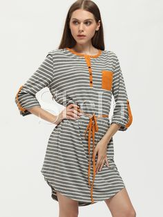 Shop Grey Striped Color Block Trims Dress online. SheIn offers Grey Striped Color Block Trims Dress & more to fit your fashionable needs.