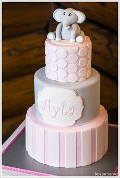 Pretty pink and grey elephant cake