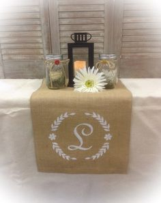 Burlap Table Runner  12 14 or 15 wide Monogram by CreativePlaces
