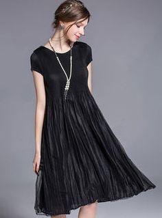 Vintage Pure Color Slim Big Hem Pleat Dress