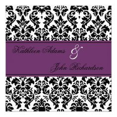 Elegant DAMASK purple wedding invitations - custom