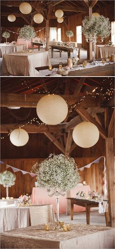 babys breath candelabra centerpieces by Branch Design Studio