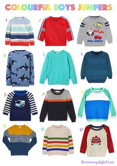 Where have all the colourful boys clothes gone?! It's all greys, navys and blacks on the high street - boo! I trawled the internet to find these 12 bright jumpers for boys - Spring Summer 2018 Toddler Childrens Boys Fashion Clothes Jumpers Sweaters Style