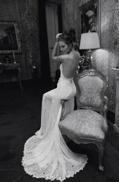 Backless Wedding Dress Gown - This Inbal Dror backless wedding dress takes our breath away! Unique and glamorous, with details such as antique lace, florals and interesting shapes.   --Ok, I'm speechless!! I WANT this dress!! #BacklessWeddingdress #WeddingDress #OpenBackWeddingDress #WeddingGowns #Wedding