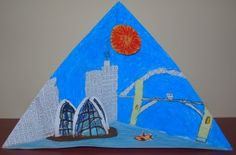 Our home school art group have a current focus on landscapes. This particular week they have worked on Triorama's. A trinagular diorama, ar. School Projects, Projects For Kids, Art Projects, School Ideas, Teaching Tools, Teaching Kids, Types Of Craft, Tot School, Crafts To Make
