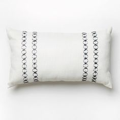Outdoor Embroidered Stars Pillow –White/India Ink #westelm…also beige--upstairs bedroom?