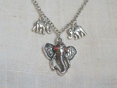 Elephants Necklace Red Rhinestones Africa Statement by JypsyJewels