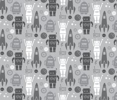 Rockets N' Robots (gray) fabric by leanne on Spoonflower - custom fabric