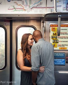 One of my favorite places for engagement photo locations in Chicago is in the CTA. From the tracks waiting for the train to inside, this spot is amazing for capturing those little moments.
