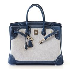 Hermes - Ghillies Birkin bag in canvas and blue leather.