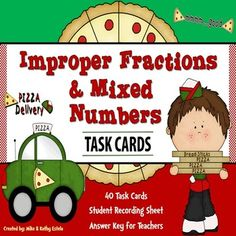 There are forty (40) task cards in this set that you can use to discuss/review the topic of Improper Fractions and Mixed Numbers. $