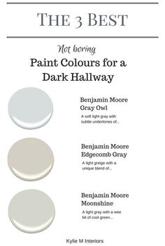 Cool The 3 best not boring paint colours for a dark hallway or stairwell by Kylie M Interiors. E-decor and Color Consulting The post The 3 best not boring paint colours for a dark hallway or stairwell by Kylie M I… appeared first on Ameria . Hallway Paint Colors, Best Paint Colors, Paint Colors For Living Room, Interior Paint Colors, Paint Colors For Home, House Colors, Paint For A Dark Room, Colours For Hallways, Interior Design
