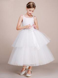 11bc3fbc White Ball Gown Junior Bridesmaid Dress,Tulle Tea Length Flower Girl Dress,  simple flower