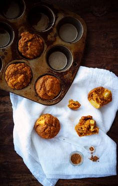 Pumpkin Pineapple Spice Muffins - YUM! What a tasty sounding Halloween breakfast. We love the combo of pumpkin and pineapple!