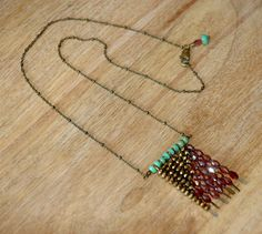 Bohemian Style Beaded Necklace with Garnet Gemstones and Copper and Turquoise Green Czech Glass Beads