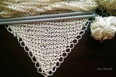 Tejer un chal en triangulo punto-Tres patrones-Soy Woolly