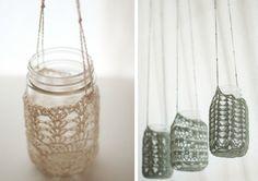 DIY crocheted mason jar hangers