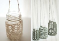 crochet mason jar holders :: DIY :: those sage colored ones are to die for