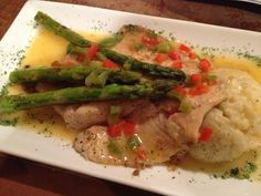 fish, risotto and asparagus!