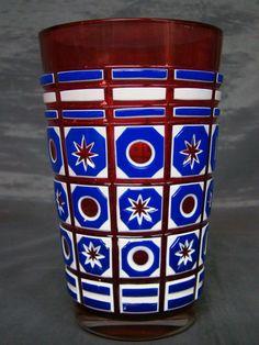 Other Bohemian/czech Art Glass Humor Stunning Cobalt Blue Flash Czech Bohemian Star Cut Flare Vase
