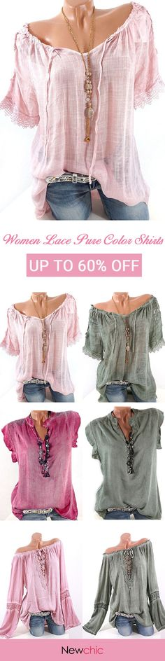 Women lace crochet sleeve pure color shirts.  Suitable for summer, casual fashion style tops. New clothes you need, welcome to summer.