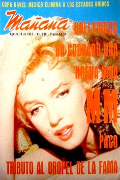 "1962 August issue: Manana Mexican magazine cover – Marilyn Monroe in a scene from the film ""Bus Stop""   .... #marilynmonroe #normajeane #vintagemagazine #pinup #icon #iconic #1960s #raremagazine #magazinecover #busstop"