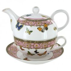 Pink Butterfly Porcelain Tea for One