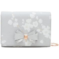 Ted Baker Tie The Knot Ulanna Oriental Blossom Clutch Bag, Light Grey (4.970 RUB) ❤ liked on Polyvore featuring bags, handbags, clutches, bow purse, floral purse, flower clutches, flower purse and special occasion clutches