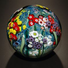 Landscape Series Gazing Ball with Poppies by Shawn Messenger (Art Glass Paperweight)   Artful Home