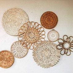 Boho Room, Boho Living Room, Living Room Decor, Bedroom Decor, Bedroom Wall, Interaction Design, Baskets On Wall, Wall Basket, Woven Baskets