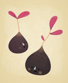 2 Figs by Sarah Goodreau Vegetable Cartoon, Blog Design Inspiration, Art For Art Sake, Pomegranate, Paper Cutting, Pattern Design, Figs, Pure Products, Art Prints